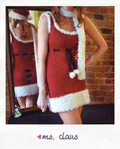 ms. claus knitted santa dress hat and scarf knitting pattern