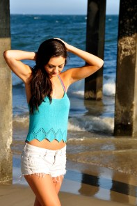 """""""Sunshine and Lollipops"""" Braided Strappy Back Tank Top with Geo Lace Edge"""