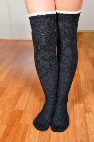 """""""Diamond in the Ruffle"""" Cable Knit Socks"""