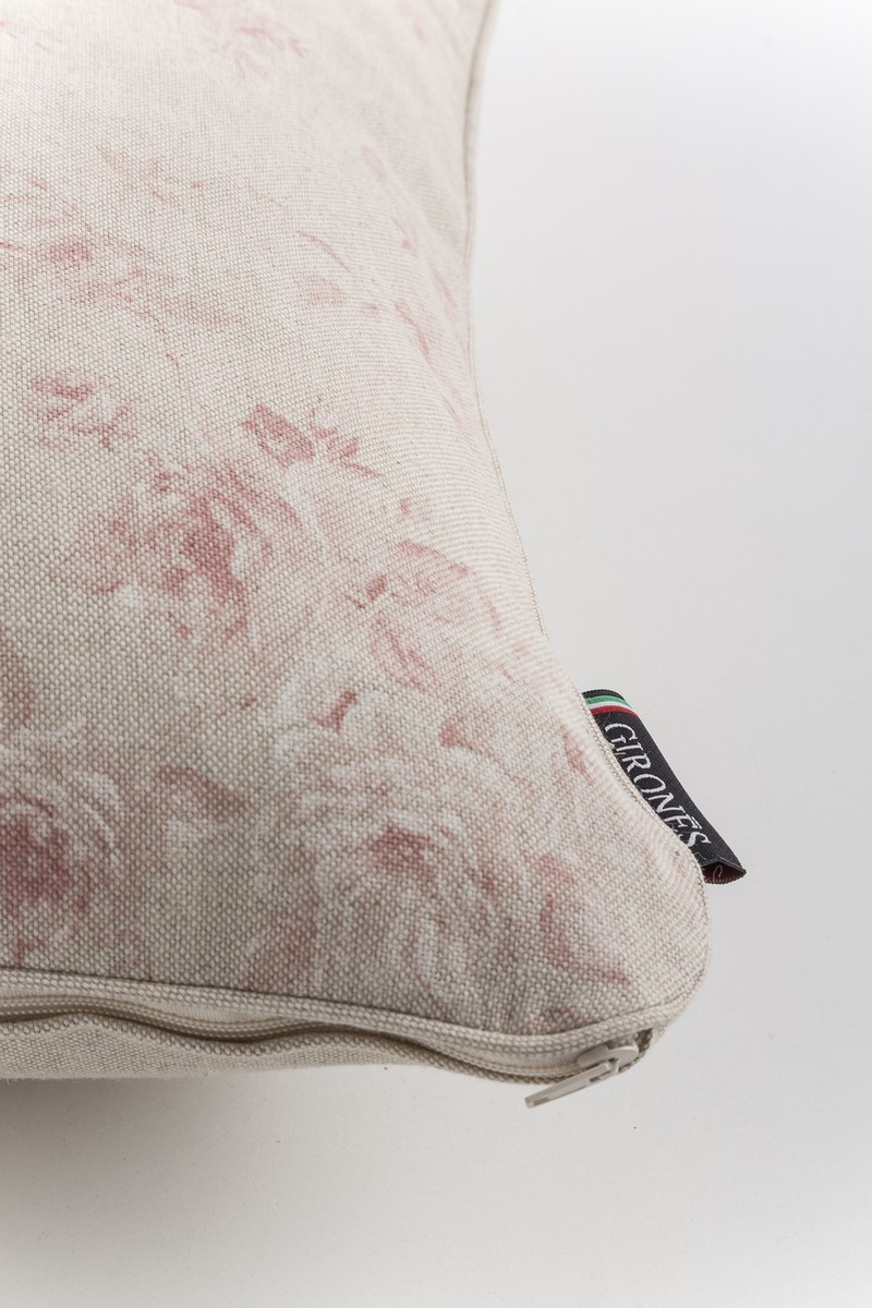 French Vintage Toile Petite Red Roses Cushion Cover