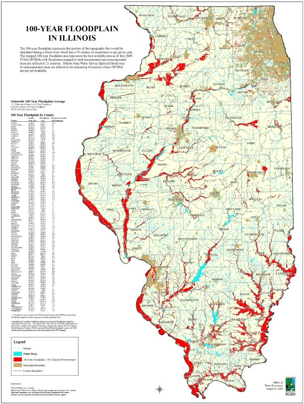 Natural Resource Management: A GIS floodzone map showing areas of Illinois that would be inundated in a in year flood.