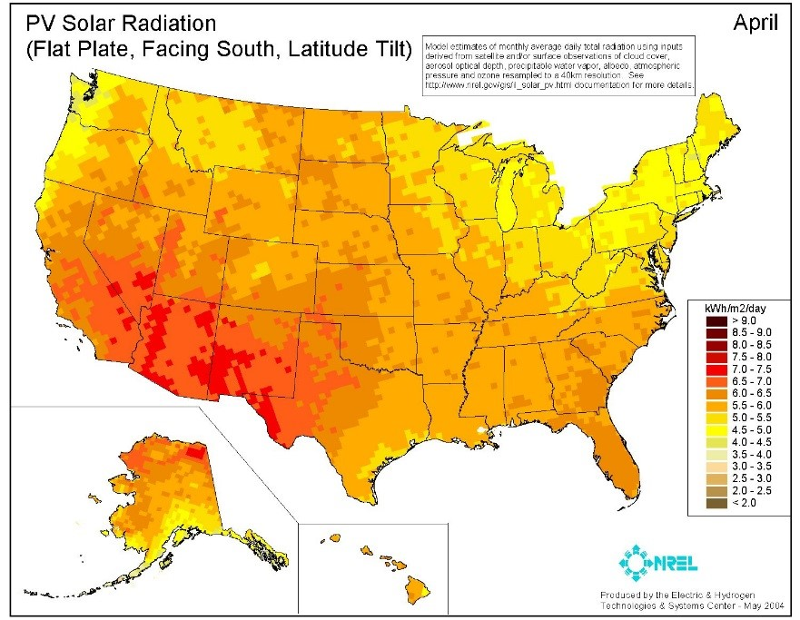 A Solar Radiation Map  that could be used in the Site Selection Process for solar farms