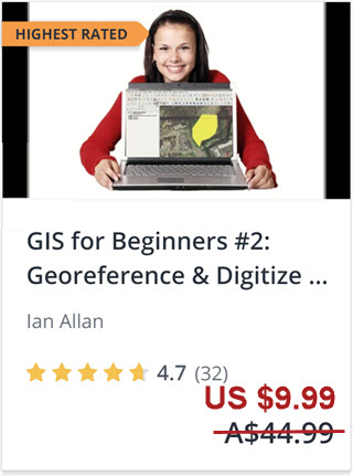 Click this image to enrol in the highest rated QGIS tutorial on Udemy. Georeference and digitize in QGIS