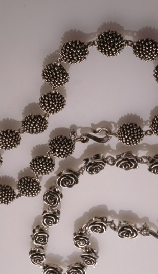 Bead Chokers, Oxidized Sterling