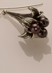 Lily Earring, Sterling with Black Pearls