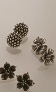 Flower Ear Studs, Oxidized Sterling