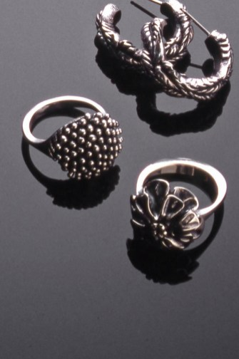 Flower Rings, Oxidized Sterling