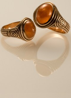 Tingari Pinky Rings, 18k Rose with Carnelian Cabochons