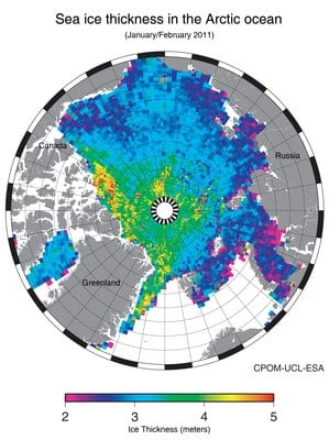 Arctice Sea Ice Thickness Map.