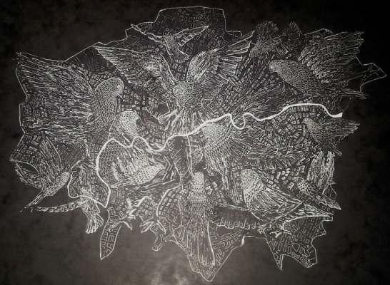 Map of London Using Pigeons by Rewati Shahani.