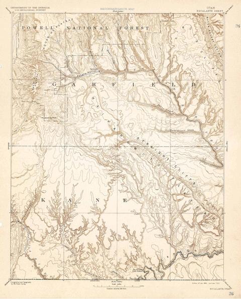 Topo Map of Escalante Quadrant, Utah from 1886.