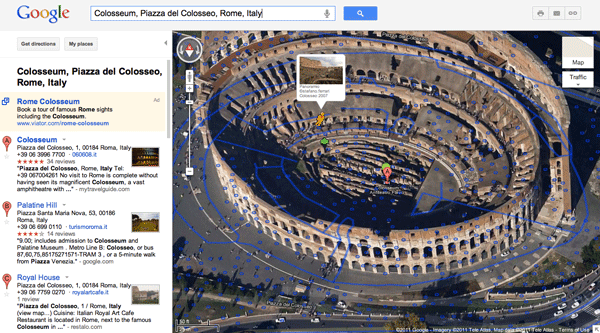 Google MapsGL view of the Colosseum in Rome, Italy.