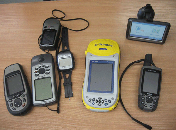 Sampling of different types of GPS receivers.