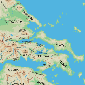 Map of the central regions of Ancient Greece.  Source: Wikimedia Commons.