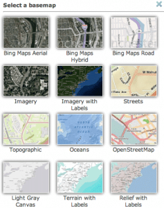 Select of basemaps from Esri's ArcGIS Online.