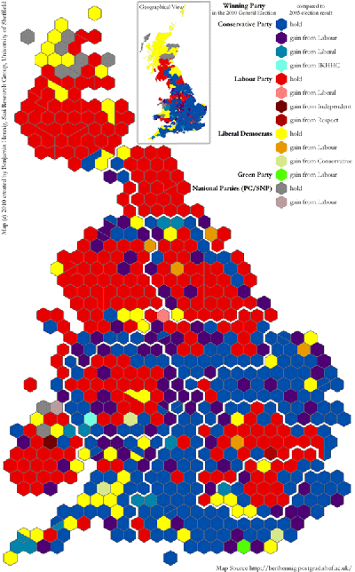 2010 British General Election Results Hexagon Map. Created by Benjamin D. Hennig, University of Sheffield.