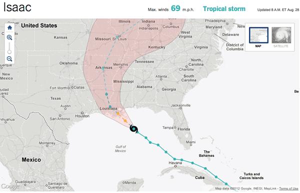 Hurricane Isaac Tracking Map - NY Times