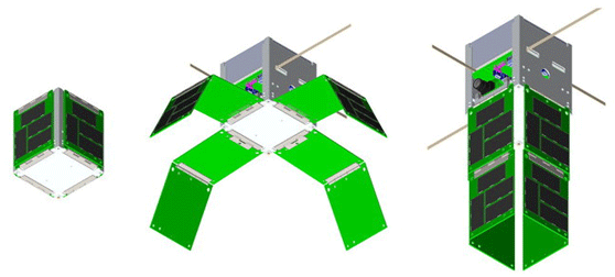 Three views of SkyCube: packed for launch, deploying solar panels, and operational in orbit.