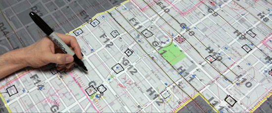 Planning map with marked comments from one of the many public outreach meetings for New York City's bike share program.
