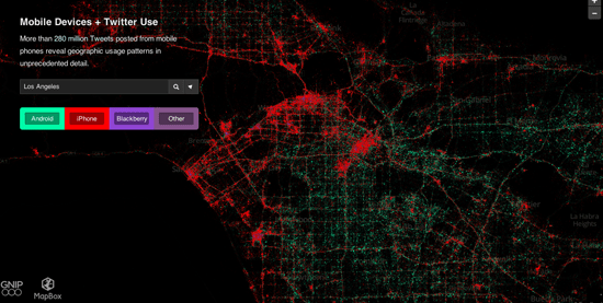 Map of tweets based on smartphone device in Los Angeles from MapBox.