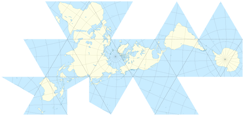 Unfolded Dymaxion Map (dashed lines indicate fold points) by Eric Gaba, 2009.