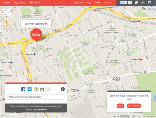 What3Words mapping service.