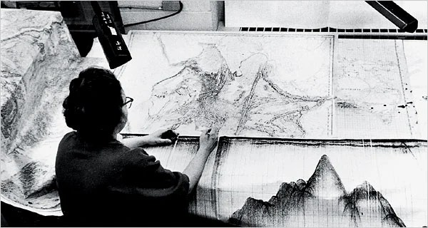 Marie Tharp working in the early 1960s on the physiographic diagram of the Indian Ocean in Lamont's Oceanography Building at Columbia University.