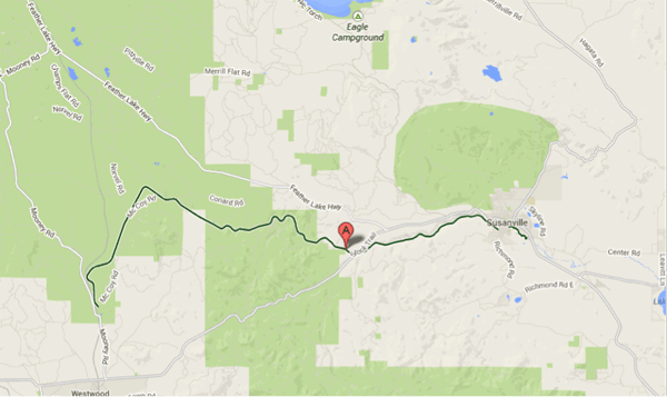 Google Maps displays the Bizz Johnson Trail in Susanville, CA. The 30 mile Bizz Johnson Trail was voted the best rail trail in the USA by Travel and Leisure magazine.