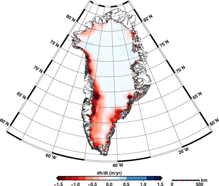 Using 14.3 million measurements collected by ESA's CryoSat mission between January 2011 and January 2014, researchers from the Alfred Wegener Institute in Germany have discovered that the Greenland ice sheet is shrinking in volume by 375 cubic kilometres a year. The study, which was published in a paper published on 20 August 2014 in the European Geosciences Union'sCryospherejournal, also showed that Antarctica is losing about 125 cubic kilometres a year. Source: Helm et al., The Cryosphere, 2014