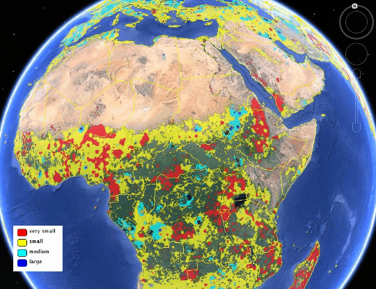 IIASA Global Field Size Map (View of northern and central Africa). Credit: IIASA Geo-Wiki Project, Google