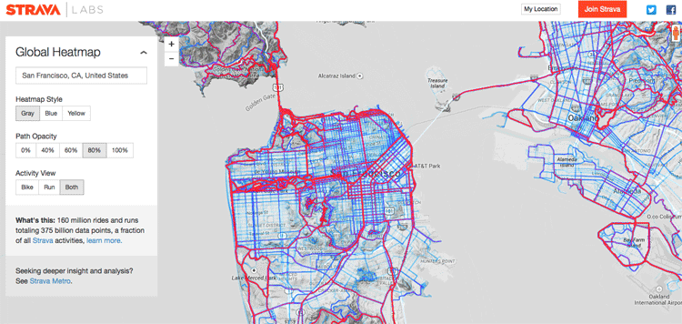 Strava heat map showing the opular running and biking routes in San Francisco.