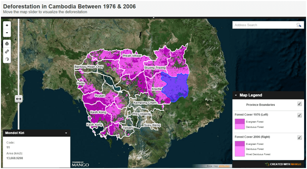 Deforestation in Cambodia 1976 – 2006