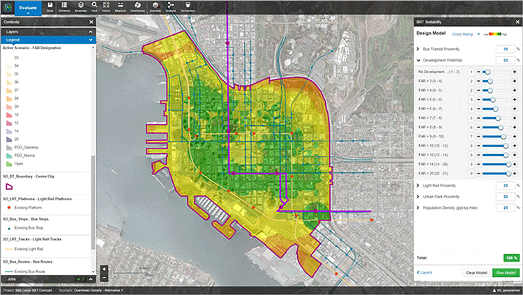 This image showcases suitability analysis for a hypothetical bus rapid (BRT) transit route takes into account proximity to parks and existing transit, as well as current and potential households and jobs. Source: Esri.