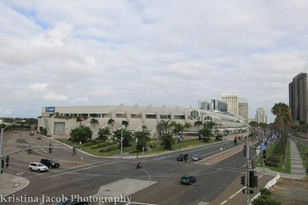 This is the view of the San Diego Convention Center from the bridge over E Harbor Dr.