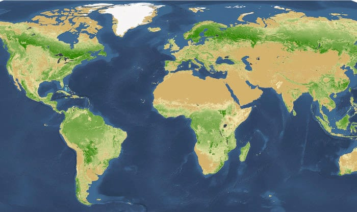 Map of the world's forests.  Source: Crowther et al, 2015.