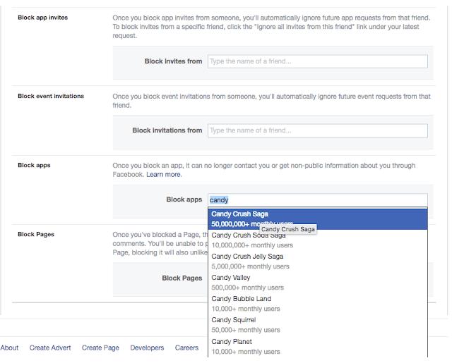 Block friends app on Facebook