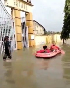 People are using Boat At Flooded Adesanya Estate, Lekki, Lagos