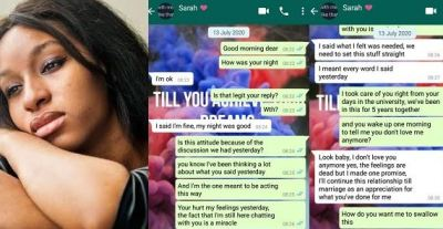 """""""I don't love you anymore but I'll marry you because you trained me in school"""" – Lady tells boyfriend (Screenshots)"""