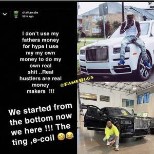 I Don't Use My Father's Money For Hype Shatta Wale Shades Davido Over His New Rolls Royce