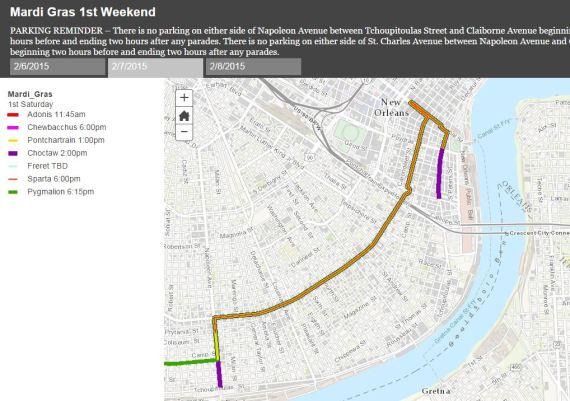 New Orleans mardis gras maps