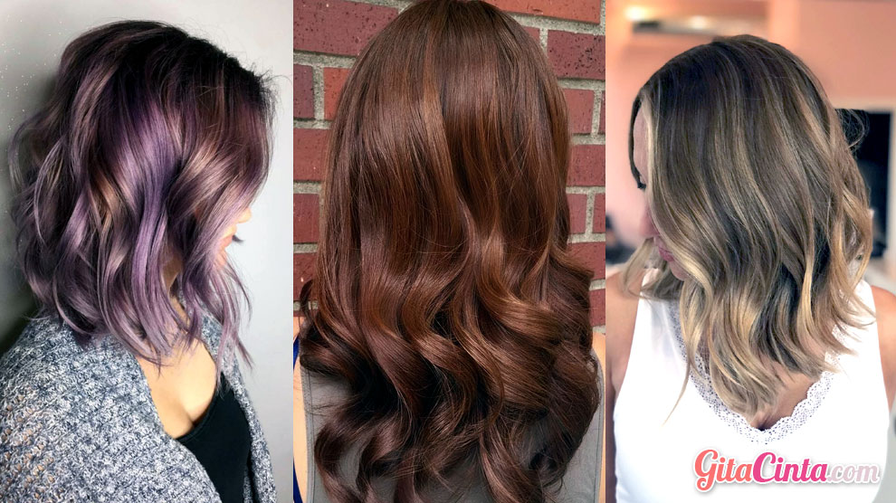 Warna rambut: lavender tips, chestnut brown & lilac bronde