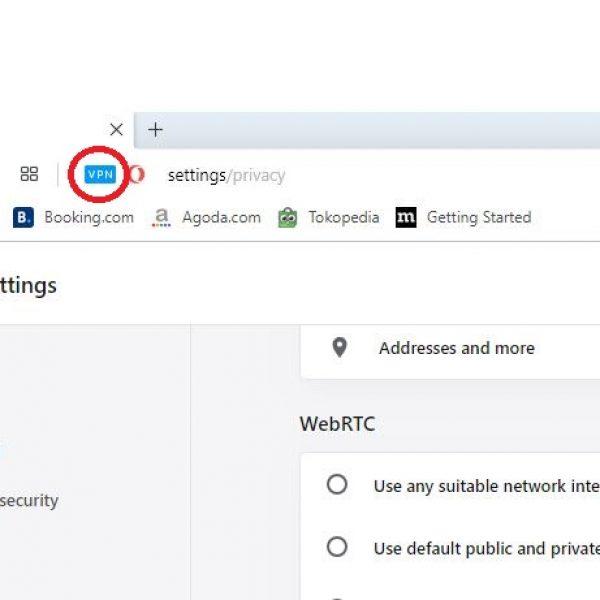 Tanda Aktif VPN di Opera
