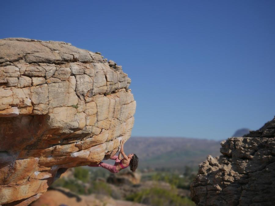 Heidy Khlaaf rock climbing