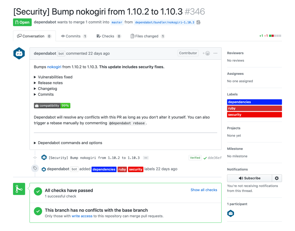 Dependabot automatically opens pull requests to patch dependencies with vulnerabilities.