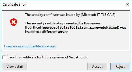 A Certificate Error pop-up displays with the message that the security certificate was issued to a different server.