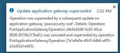 A popup displays the message that the operation was superseded by a subsequent update, and then provides the details.