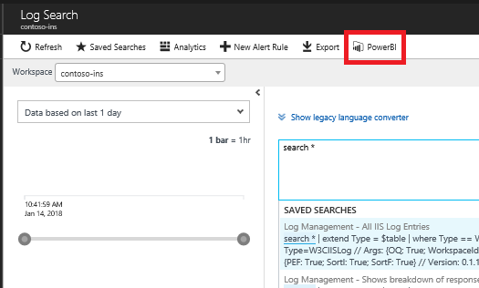 In the Log Search dialog box, the PowerBI link is selected.