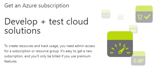 In the Get an Azure subscription pop-up, a message displays saying you need admin access.