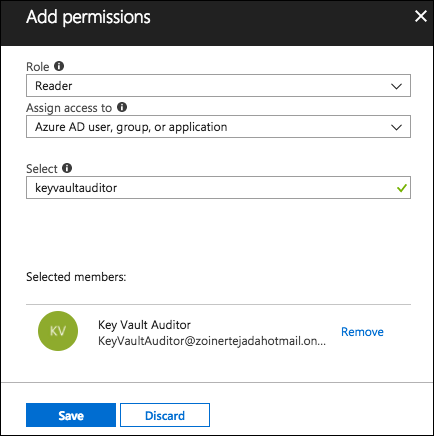 In the Add permissions blade, the values above are entered into the specified fields.