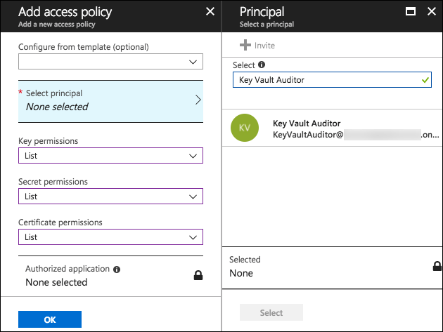 The Add access policy blade is displayed, with the values specified above entered into the appropriate fields. On the Principal blade on the right, Key Vault Auditor is entered into the Select field, and Key Vault Auditor is selected.